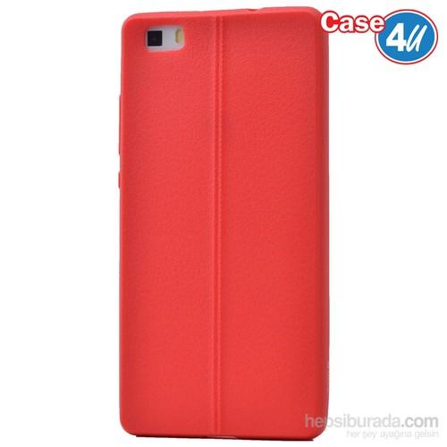 Case 4U Huawei P8 Desenli Silikon Kılıf Kırmızı