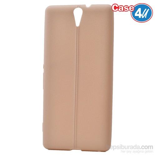 Case 4U Sony Xperia C5 Ultra Desenli Silikon Kılıf Altın