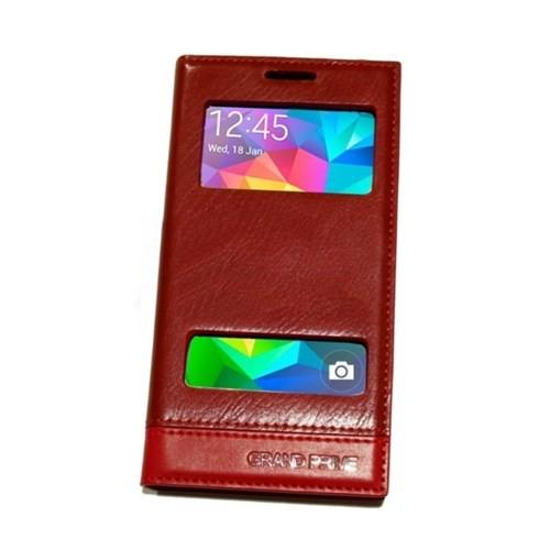 KılıfShop Samsung Galaxy Grand Prime Pencereli Magnum Kılıf (Kırmızı)