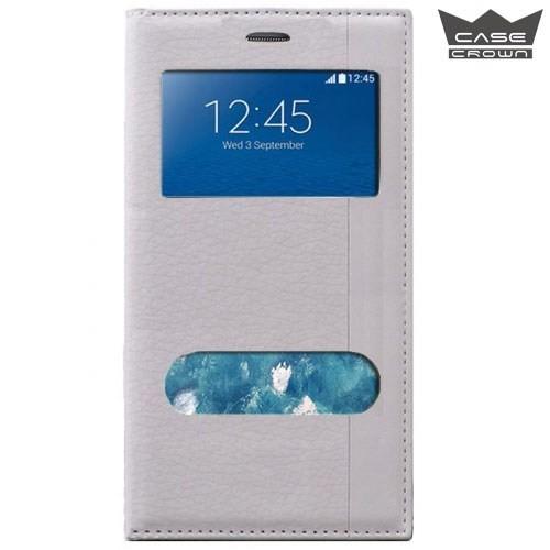 CaseCrown Samsung Galaxy Grand Prime Gizli Mıknatıslı Çift Pencereli Magnum Kılıf Beyaz
