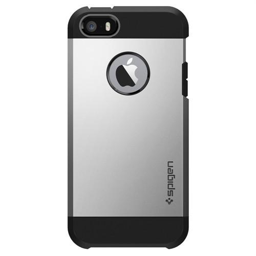 Spigen Apple iPhone Se/5S/5 Kılıf Tough Armor Satin Silver Darbelere Karşı Koruma