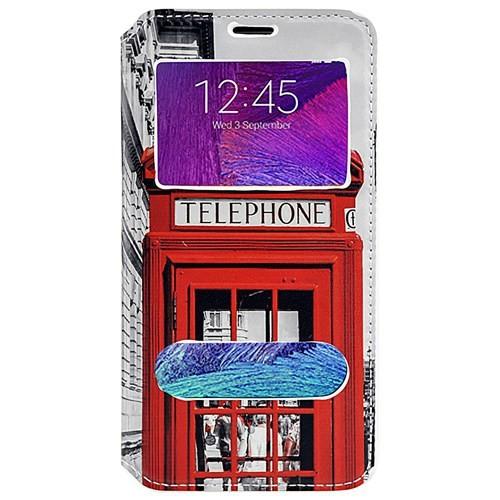 Coverzone Samsung Galaxy Note 4 Kılıf Kapaklı Pencereli Londra Telefon Kulubesi