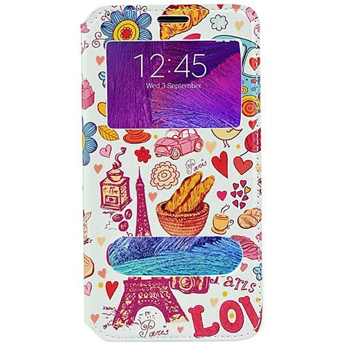 Coverzone Samsung Galaxy Note 4 Kılıf Kapaklı Pencereli Paris In Love