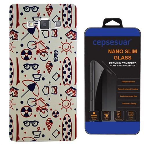 Cepsesuar Samsung Galaxy E5 Kılıf Silikon Desenli Tatil + Cam
