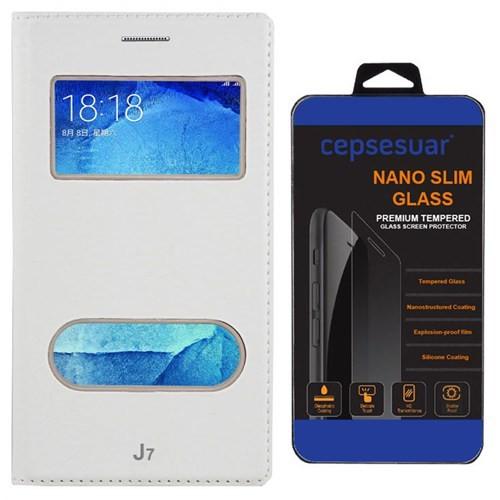 Cepsesuar Samsung Galaxy J7 Kılıf Kapaklı Dolce Beyaz + Cam