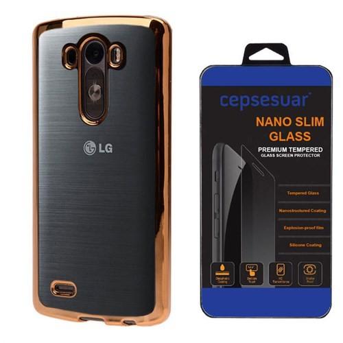 Cepsesuar Lg G3 Kılıf Silikon Lazer Gold - Cam