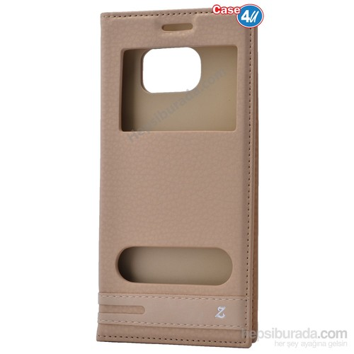 Case 4U Samsung Galaxy S7 Edge Pencereli Kapaklı Kılıf Altın