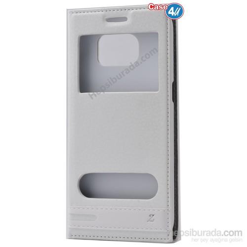 Case 4U Samsung Galaxy S7 Edge Pencereli Kapaklı Kılıf Beyaz