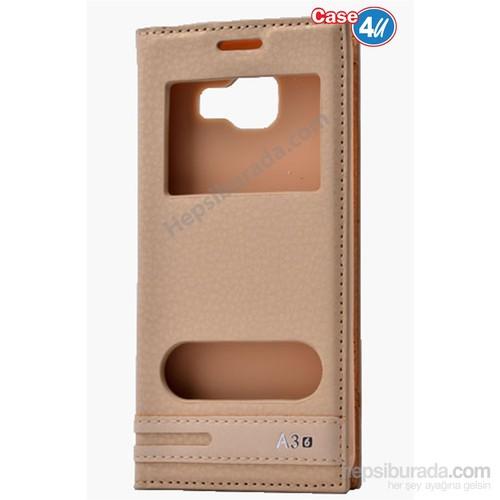Case 4U Samsung A310 Galaxy A3 Pencereli Kapaklı Kılıf Altın