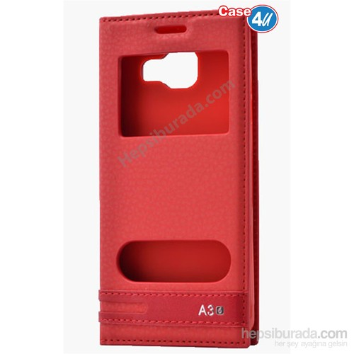 Case 4U Samsung A310 Galaxy A3 Pencereli Kapaklı Kılıf Kırmızı