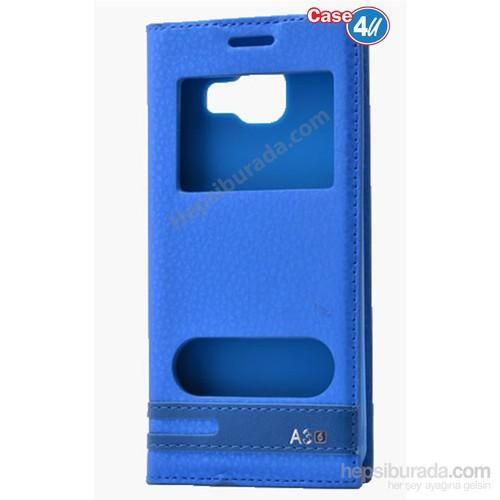 Case 4U Samsung A310 Galaxy A3 Pencereli Kapaklı Kılıf Mavi