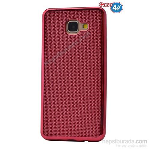 Case 4U Samsung A710 Galaxy A7 Hasır Desenli Ultra İnce Silikon Kılıf Kırmızı
