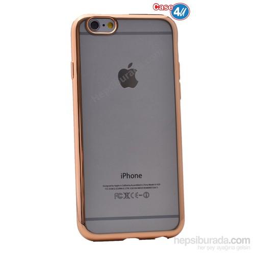 Case 4U Apple İphone 6 Lazer Kaplama Silikon Kılıf Rose Gold