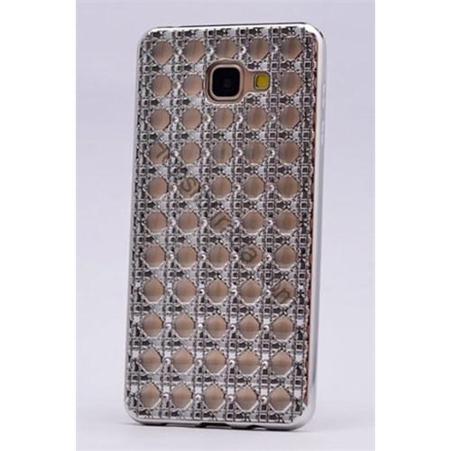 Case 4U Samsung A510 Galaxy A5 (2016) Kare Taşlı Parlak Silikon Kılıf Gümüş