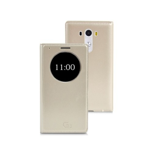 Microsonic View Slim Kapaklı Deri Lg G3 Kılıf Akıllı Modlu Altın Sarı