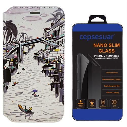 Cepsesuar Lenovo S90 Sisley Kılıf Standlı Nehir + Cam