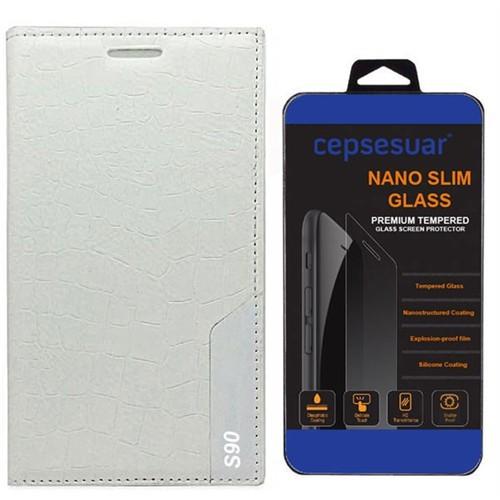 Cepsesuar Lenovo S90 Sisley Kılıf Rock Kapaklı Beyaz + Cam