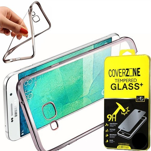 Coverzone Samsung Galaxy A9 Kılıf Silikon Kenarı Renkli Transparan + Cam