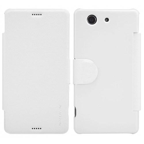 Nillkin Sony Xperia Z3 Compact Kılıf Fresh Kapaklı Beyaz