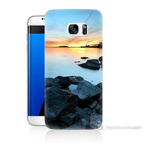Teknomeg Samsung Galaxy S7 Edge Kapak Kılıf Kayalık Baskılı Silikon