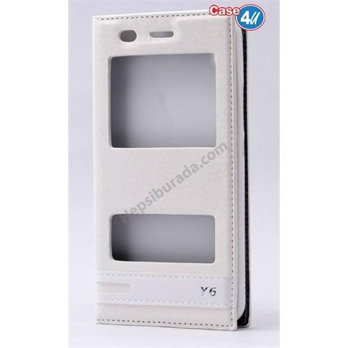 Case 4U Huawei Y6 Pencereli Kılıf Beyaz