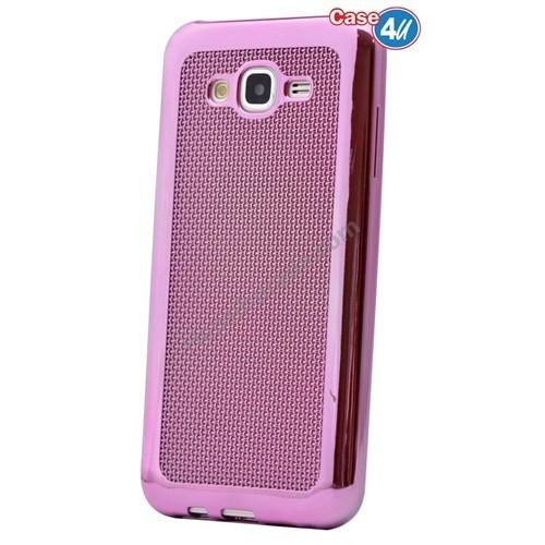 Case 4U Samsung Galaxy J2 Hasır Desenli Ultra İnce Silikon Kılıf Pembe