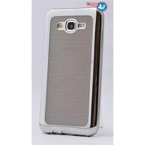 Case 4U Samsung Galaxy J5 Hasır Desenli Ultra İnce Silikon Kılıf Gümüş