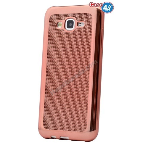 Case 4U Samsung Galaxy J5 Hasır Desenli Ultra İnce Silikon Kılıf Rose Gold