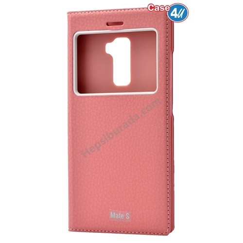 Case 4U Huawei Mate S Dolce Kapaklı Kılıf Açık Pembe