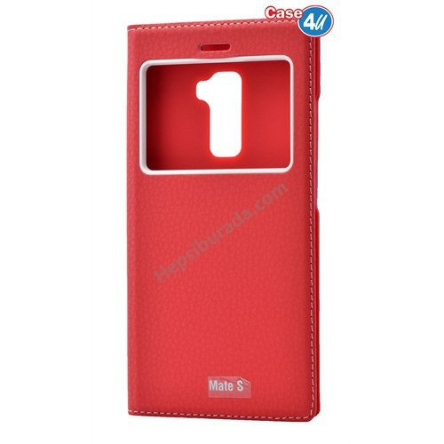 Case 4U Huawei Mate S Dolce Kapaklı Kılıf Kırmızı