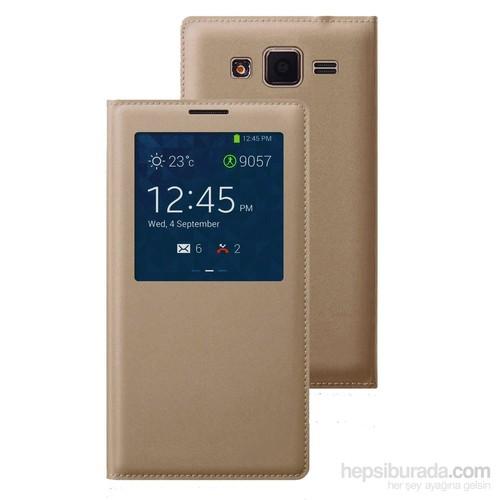 Case 4U Samsung Galaxy Core Prime G360 Pencereli Flip Cover Altın Kılıf