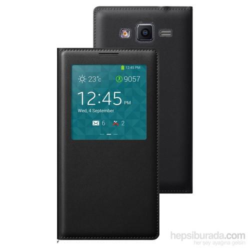 Case 4U Samsung Galaxy Core Prime G360 Pencereli Flip Cover Siyah Kılıf