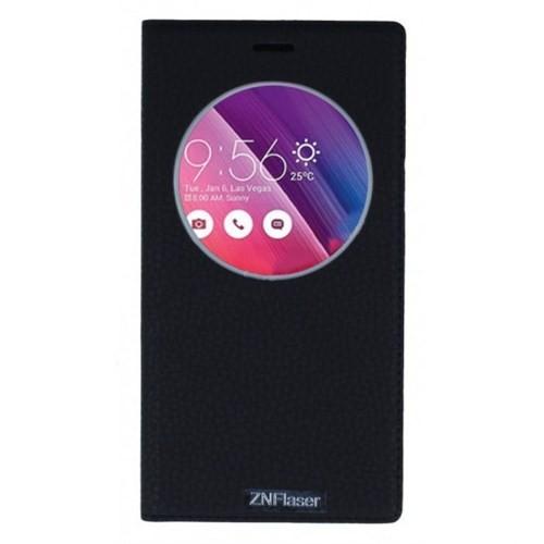 Lopard Asus Zenfone 2 Laser 6.0 Pencereli Siyah Dolce Kapaklı Deri Akıllı Kılıf