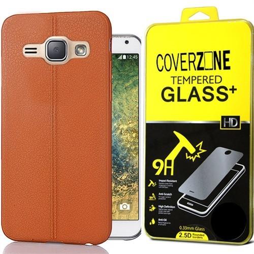 Coverzone Samsung Galaxy Grand İ9080-İ9082 Kılıf Deri Silikon + Cam