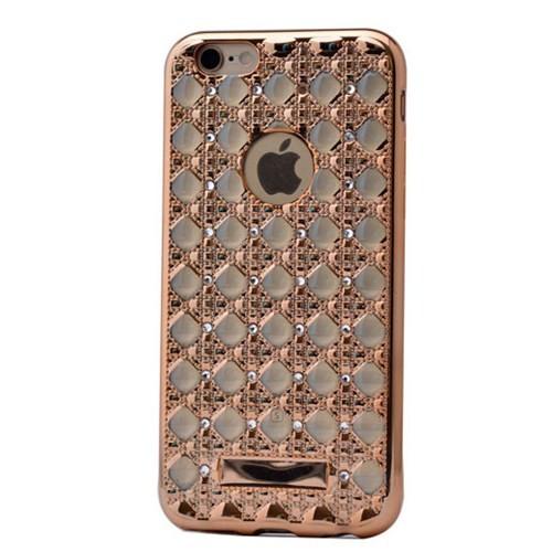 Lopard İphone 6 Kılıf Sarmaşık Taşlı Silikon Arka Kapak Gold