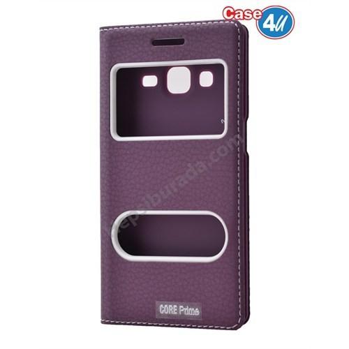 Case 4U Samsung Galaxy Core Prime Pencereli Kapaklı Kılıf Mor
