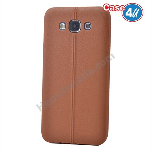 Case 4U Samsung Galaxy E5 Desenli Silikon Kılıf Kahve