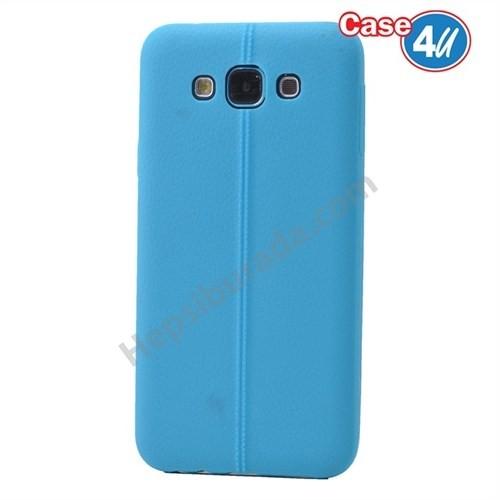 Case 4U Samsung Galaxy E5 Desenli Silikon Kılıf Mavi
