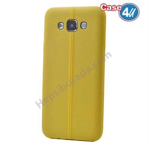 Case 4U Samsung Galaxy E5 Desenli Silikon Kılıf Sarı