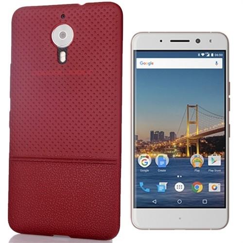 Coverzone General Mobile Gm5 Plus Kılıf Deri Görünümlü Silikon