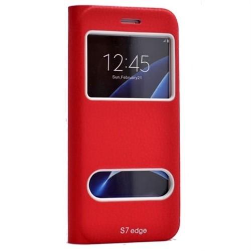 Teleplus Samsung Galaxy S7 Edge Yeni Çift Pencereli Kılıf Kırmızı
