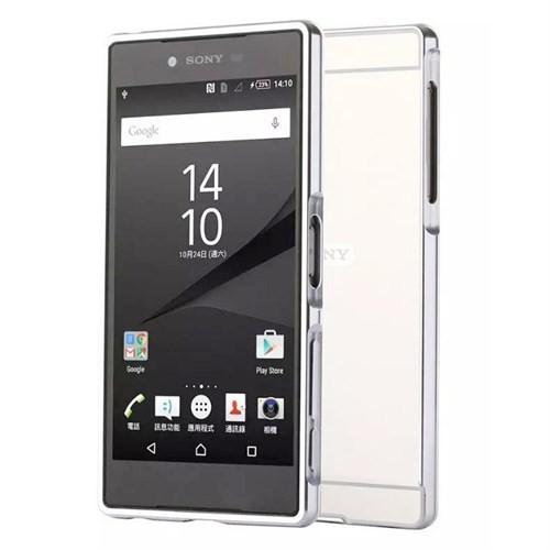 Kılıfshop Sony Xperia Z5 Premium Aynalı Lüks Bumper Kılıf (Gümüş)