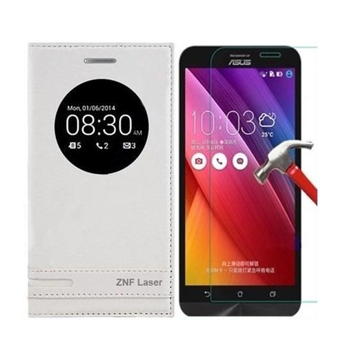 Kılıfshop Asus Zenfone 2 Laser Ze500kl Pencereli Magnum Kılıf Beyaz + Ekran Koruyucu