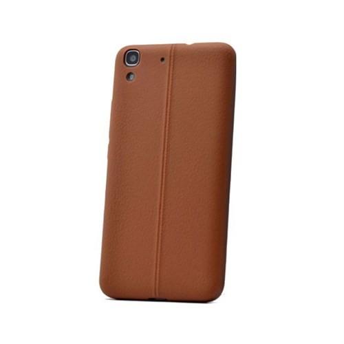 Teleplus Huawei Y6 Deri Görünümlü Silikon Kılıf Kahve