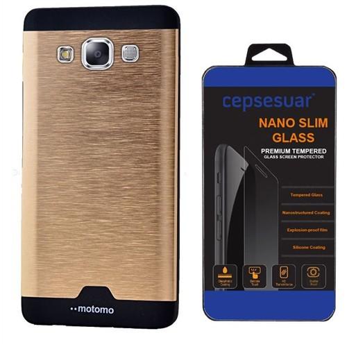 Cepsesuar Samsung Galaxy E5 Kılıf Motomo Gold + Cam