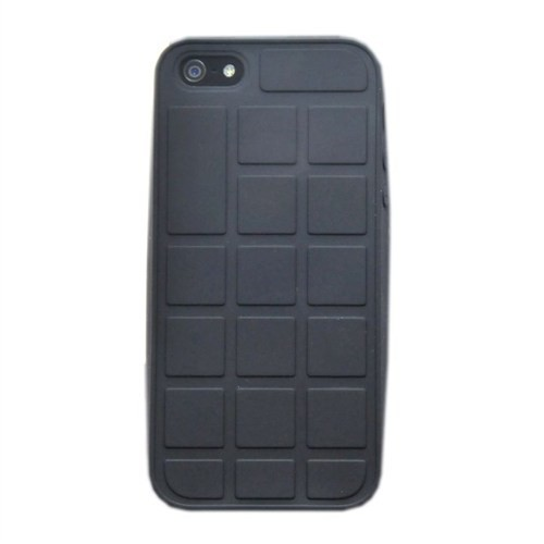 Duck Apple iPhone 5 Silikon Kilif - Chocolate Look - Siyah Kapak