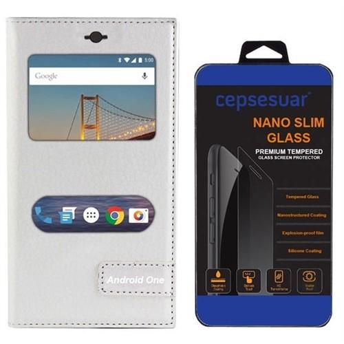 Cepsesuar General Mobile 4G Android One Kılıf Safir Pencereli Beyaz + Cam
