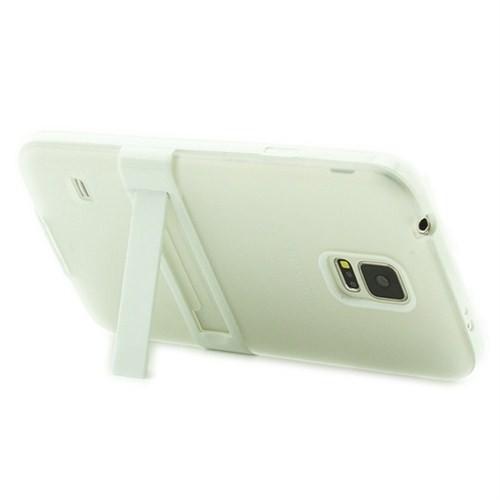 Microsonic Standlı Soft Samsung Galaxy S5 Kılıf Beyaz