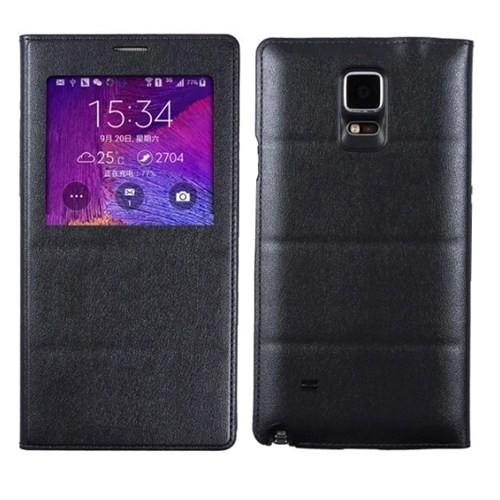 Microsonic View Padding Kapaklı Samsung Galaxy Note 4 Kılıf (Akıllı Modlu) Siyah - CS150-V-PDDNG-GLX
