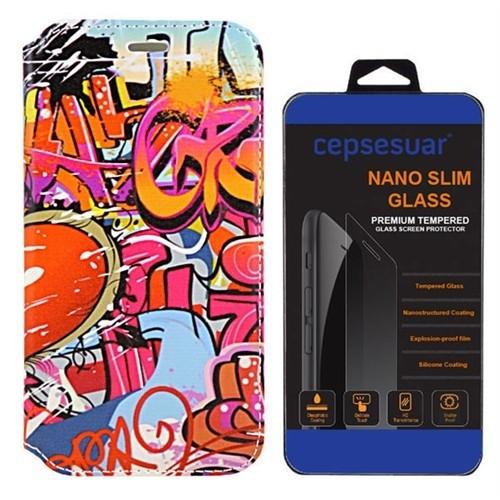 Cepsesuar Htc Desire 526G Kılıf Standlı Grafiti - Cam
